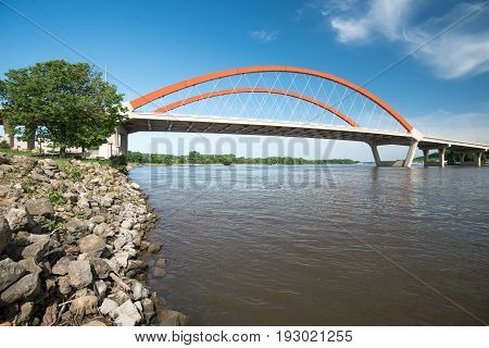 Hastings Bridge Spans the Mississippi River from Minnesota to Wisconsin