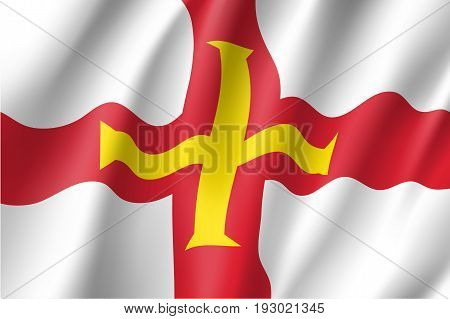 Guernsey, island in the English Channel, civil and state flag, bright red and gold cross within it on white background. Vector realistic style illustration