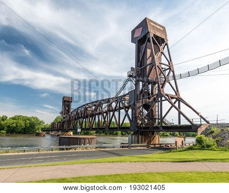 Hastings Rail Bridge Spans the Mississippi River at Hastings Minnesota
