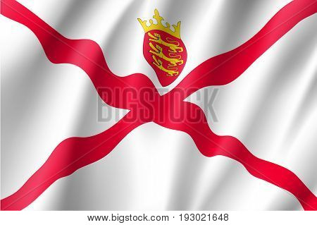 Jersey national flag, island, dependency of the United Kingdom, red saltire on a white field, surmounted by a yellow crown, and the badge. Vector realistic style illustration