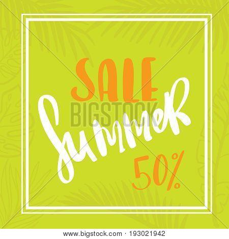 Palm leaf summer sale up to per cent off design web banner or poster