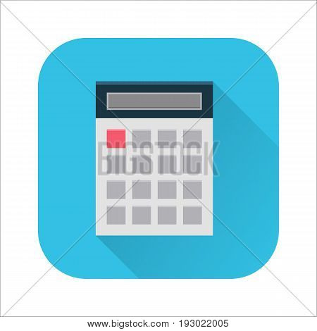 Flat calculator icon. Internet sign with long shadow in cartoon style. Web and mobile design element. Finance, accounting and calculate symbol. Vector colored illustration.