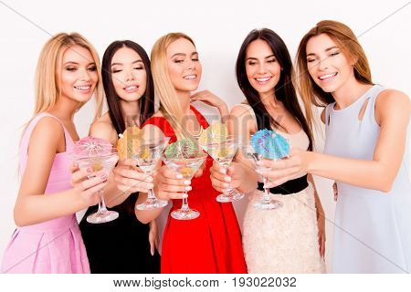 Ready To Chill! Cheers To A Bride! Five Cute Bridemaids And A Future Bride Are Toasting At The Hen P