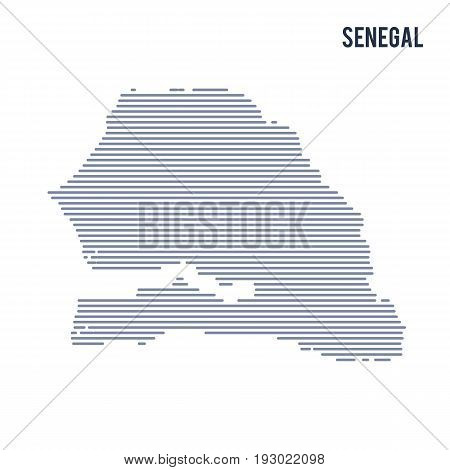 Vector Abstract Hatched Map Of Senegal With Lines Isolated On A White Background.