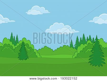 Horizontal Seamless Background Landscape, Summer Forest with Green Grass, Blue Sky and Clouds. Vector