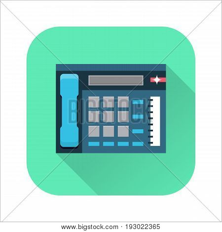 Office telephone flat icon, multiline phone system, communication center. Vector flat style cartoon illustration with long shadow on green background. Business concept