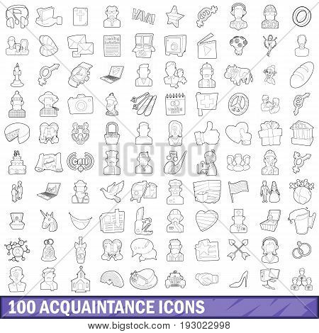 100 acquaintance icons set in outline style for any design vector illustration
