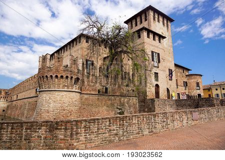 PARMA, ITALY - APRIL 2017 : The Rocca Sanvitale of Fontanellato stands, charming, in the center of the village, surrounded by a wide water-filled moat: it contains one of the masterpieces of Italian mannerism .