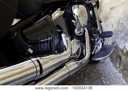 Exhaust pipe and motor motor detail of a two-wheeled vehicle power and speed