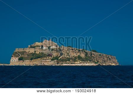 Gargano National Park:Tremiti Island (Apulia) ITALY. A view of San Nicola island from the nearby San Domino island, with the Abbey of Santa Maria a Mare fortified complex