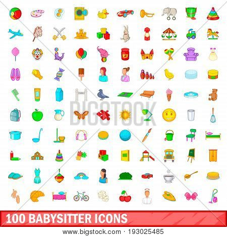100 babysitter icons set in cartoon style for any design illustration
