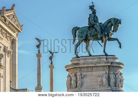 ROME ITALY - MAY 30 2017: The Monument Nazional a Vittorio Emanuele II built in honour of first king of a unified Italy.