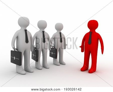 3d leader show business man the way . 3d rendered illustration