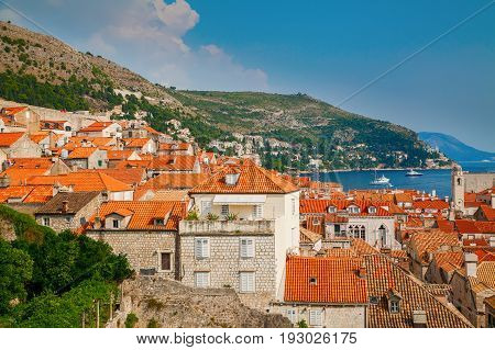 small houses with red roofs in the Dubrovnik Old Town Croatia