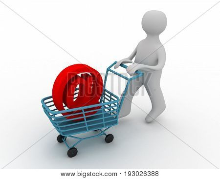 customer with cart . 3d rendered illustration