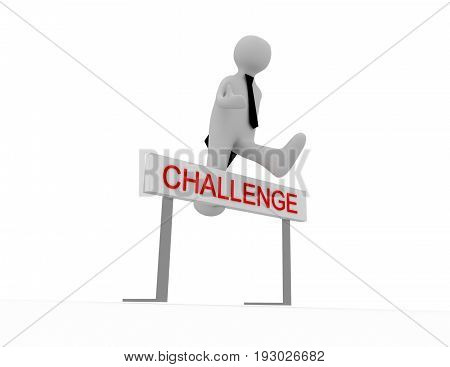 3D People - Man, Person Jumping Over A Hurdle Obstacle Entitled Challenge.