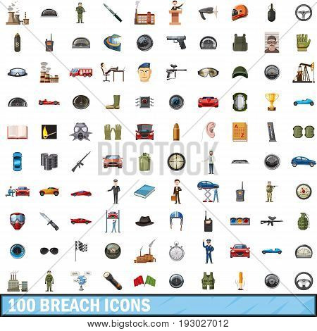 100 breach icons set in cartoon style for any design vector illustration