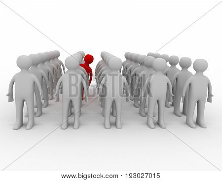 Many people in rows but one is acting differently . 3d rendered illustration
