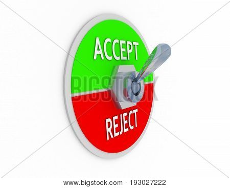 3d accept reject switcher . 3d rendered illustration