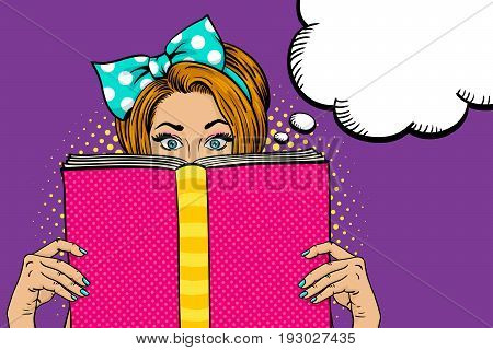 Wow female face. Sexy young woman housewife with wide open eyes and bow on her head holding big pink book. Vector colorful background in pop art retro comic style. Party invitation poster.