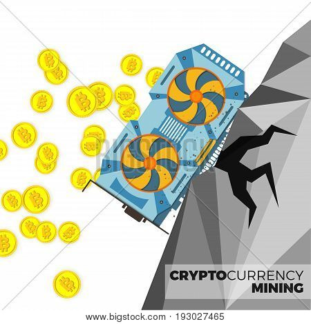Video graphics card producing cryptocurrency coins vector concept. Bitcoin mining with GPU illustration. Realistic style, isolated on white background.