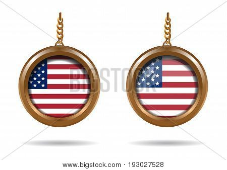 Set round medallion on a chain with an American flag. Flag of the United States of America. US flag. Old Glory. Star-Spangled banner. Vector illustration isolated on white background