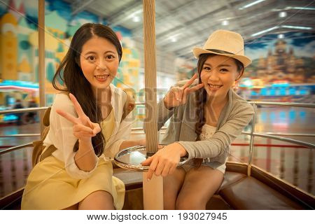 Pretty Young Women Sitting On The Swivel Chair