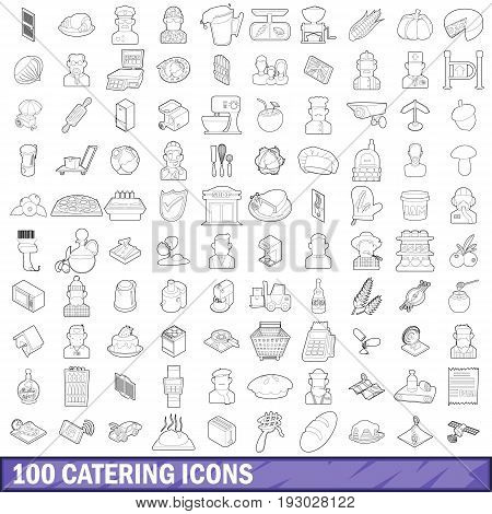 100 catering icons set in outline style for any design vector illustration