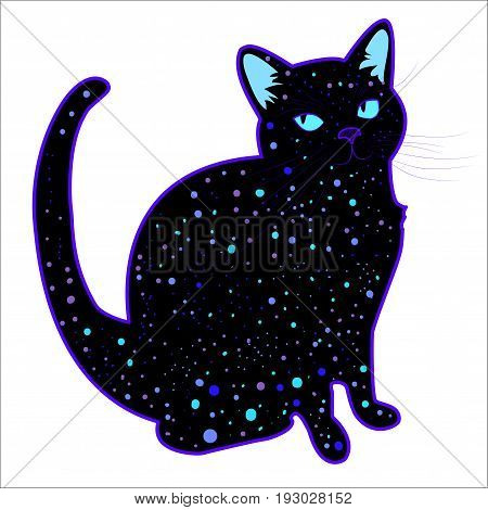 Cute funny cosmic psychedelic silhouette cat isolated on white background. Design bright colorful charming surreal cat star on the body.Vector illustration of a beautiful black little kitty art.