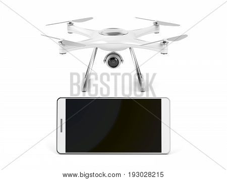 Smartphone with blank display and drone on white background, 3D illustration