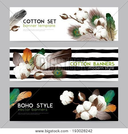 Cotton bolls with feathers boho style decorations 3 realistic horizontal banners set white black background  isolated vector illustration
