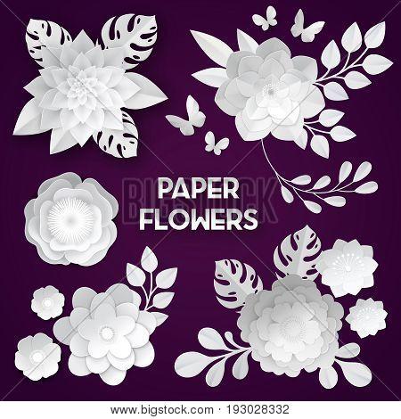 Elegant white paper cut flowers 3d bridal decoration arrangements handcraft set dark background realistic isolated vector illustration