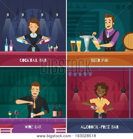 Barman 2x2 design concept in cartoon style with male and female bartenders at bar racks flat vector illustration