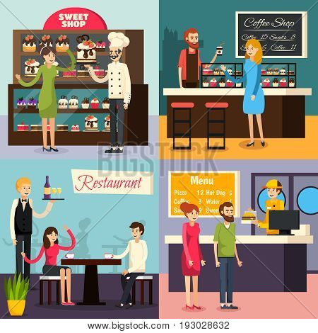 Four square cafe worker flat icon set on restaurant cafe bar sweet shop themes vector illustration