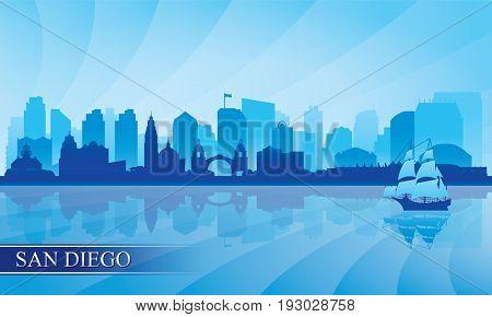 San Diego City Skyline Silhouette Background
