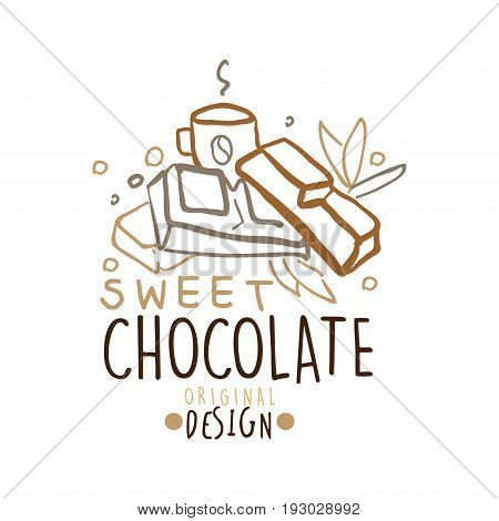 Sweet chocolate label original design, hand drawn vector Illustration in brown colors, logo template for branding identity restaurant, cafe, confectionery colorful