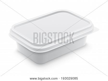 Vector white square container for butter melted cheese or margarine spread. Perspective view isolated over the white background. Packaging template illustration.