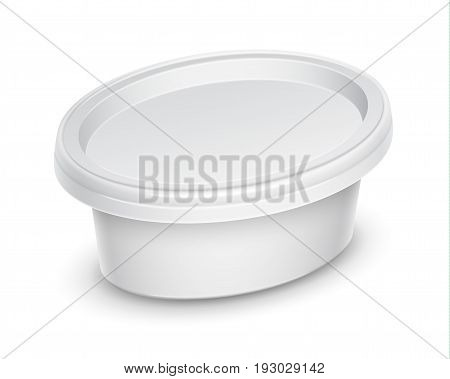 Vector white oval container for cosmetics cream butter or margarine spread. Perspective view isolated over the white background. Packaging template illustration.