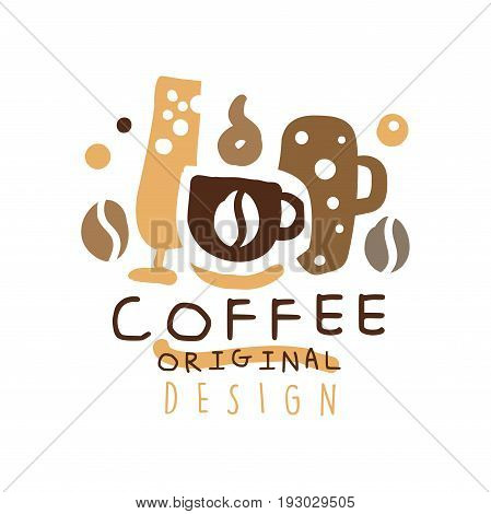 Coffee label original design, hand drawn vector Illustration, logo template for branding identity restaurant, cafe, coffee shop, espresso bar, coffeehouse