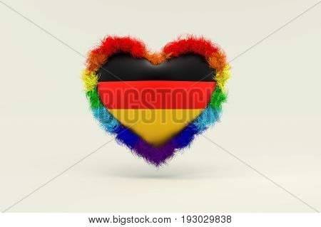 3d illustration Shape of Heart in Rainbow Color against discrimination in Germany