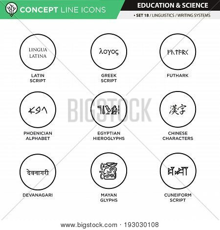 Angient writing systems theme black line icons in white isolated background used for school and university education, create by vector