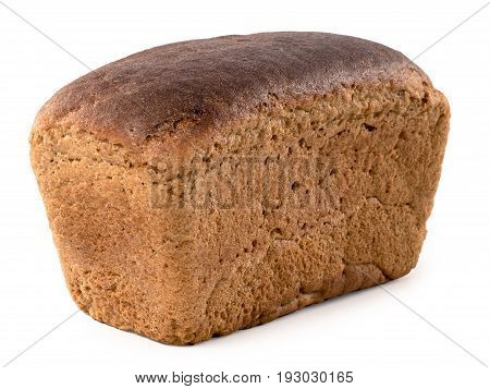 Square long loaf of russian brown bread isolated on white background. Rye loaf brick bread isolated with clipping path.