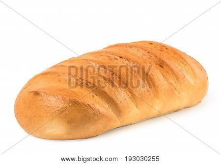loaf bread isolated on white. veka loaf isolated with clipping path