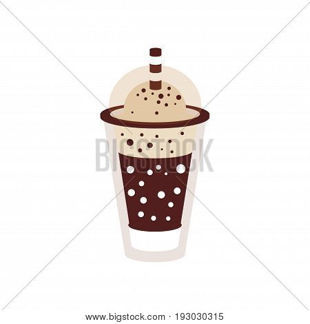 Frappuccino with ice in takeaway cup vector Illustration isolated on a white background