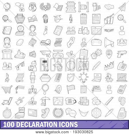100 declaration icons set in outline style for any design vector illustration