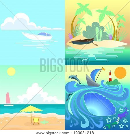 Set tropical seascape with boats beach.Collection vector illustration seascape painting summer sunny day.Holiday islands colors summer time.Beautiful view ocean emerald waves yacht paradise coast.