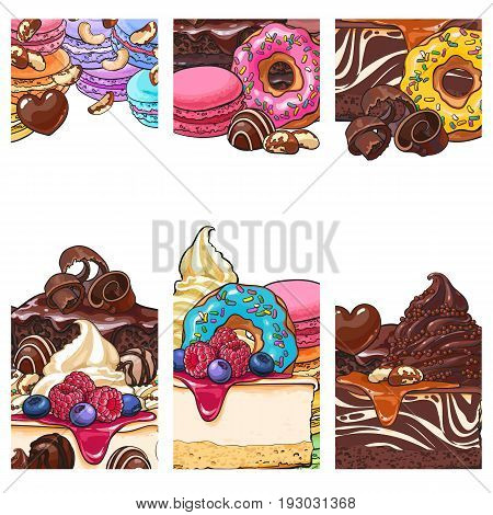 Three banner, label, postcard templates with cakes, desserts, sweets and empty place for text, sketch vector illustration. Banner, label, postcard design for candy shop with pastries and desserts