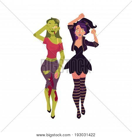 Two pretty girls, women dressed for Halloween - as witch and zombie, cartoon vector illustration isolated on white background. Two women, girls dressed as witch and zombie, Halloween party costumes
