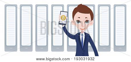 Cryptocurrency mining farm and man with smartphone in hand. Mobile bitcoin wallet app. Vector illustration by flat style in white background.