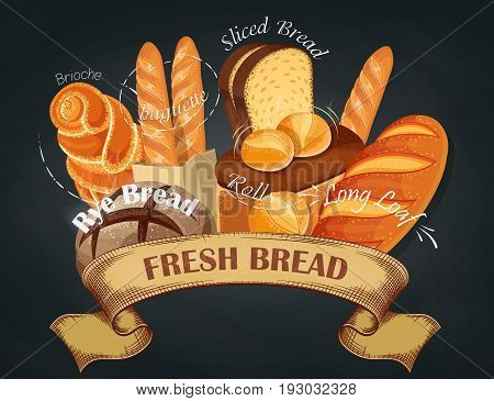 Fresh bread. Baking shop emblem. Bread logo for bakery shop. Branding, label, banner, assortment. Vector illustration